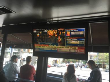 TV news on screen at local pub