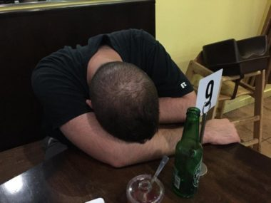Head down on table