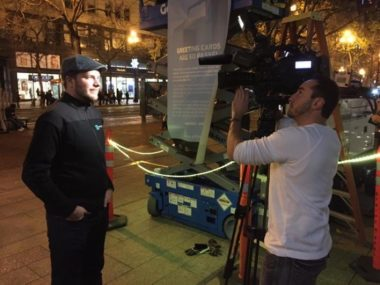 Tomas Puig is interviewed on camera with Bospar PR